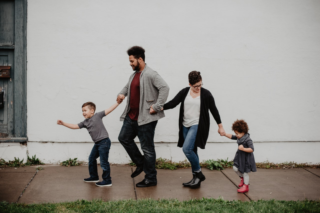 stressed parents with children